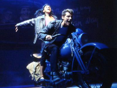 "Motorcycle scene from ""Whistle down the wind"""